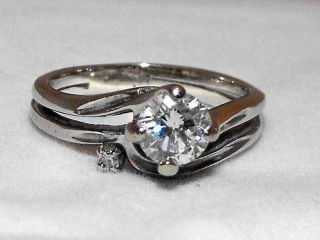 Vintage Ladies Diamond Wedding Engagement Ring Set White 14k Gold Sz 5