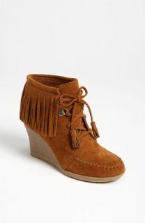 Minnetonka Lace Up Fringe Ankle Boot
