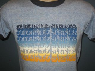 80s RAYON TRI BLEND COLORADO SPRINGS RINGER T Shirt XXS mountains thin