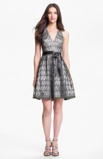 Adrianna Papell Sequin Lace Halter Dress