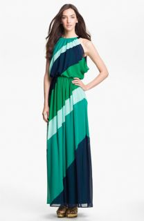 Vince Camuto Diagonal Colorblock Chiffon Maxi Dress