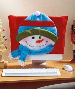 Snowman Holiday Computer Screen Monitor Cover Christmas Xmas Decor