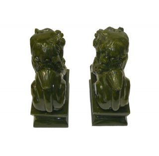 Chinese Hand Carved Green Color Natural Jade Stone Foo Dog Statue Pair