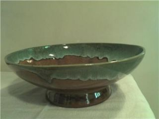 Van Briggle Pottery Colorado Springs Large Brown Green Drip Bowl