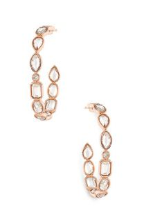 Ivanka Trump Mixed Cut Small Rock Crystal & Diamond Hoop Earrings