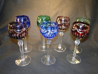of 7 Beautiful Bohemian Colored Cut Glass Wine Goblets Crystal