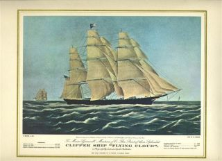 Pan American Menu Clipper Ship Flying Cloud Currier & Ives Cover