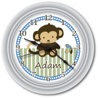Personalized Monkey Wall Clock Boy Baby Shower Nursery Room Decor
