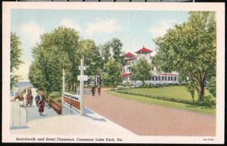 Conneaut Lake Park PA Hotel Boardwalk Vintage Linen Postcard Early Old