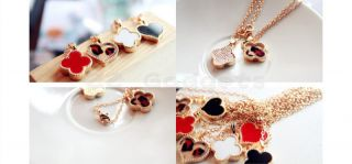 Korea Korean Stylish Lovely Sweet Enamel Clover Love Heart Golden