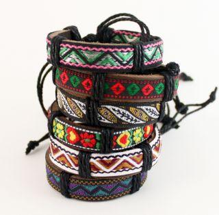 Leather Fabric Adjustable Bracelet Wristband Cuff 5085