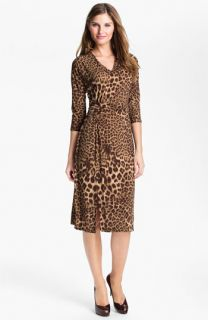 Anne Klein Leopard Print V Neck Dress (Online Exclusive)
