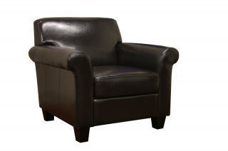 Modern Adonis Black Brown Faux Leather Club Chair