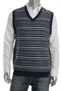 Club Room NEW Navy Striped Ribbed Trim V Neck Casual Sweater Vest L