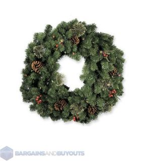 Indoor Outdoor Battery Operated LED Lighted Christmas Wreath 30 Clear