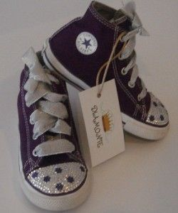 Purple Convers Featuring Clear Swarovski Cystals for Toddler Kids