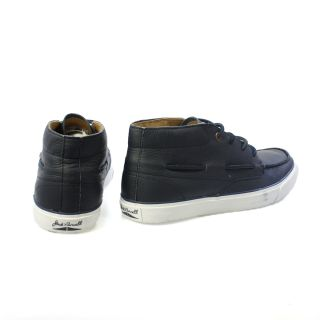 Converse Jack Purcell Boat Mid Navy Leather Shoes