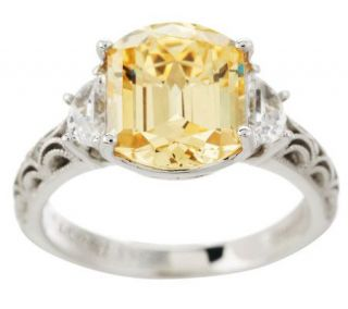 Tacori IV Diamonique Epiphany 4.00ct Cushion Emerald Canary Ring