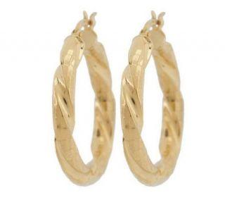 Veronese 18K Clad 1 1/8 Diamond Cut Twisted Hoop Earrings —