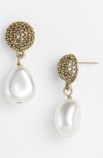 St. John Collection Antique Gold Glass Pearl Earrings