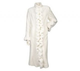 Dennis Basso Faux Fur Coat with Ruffle Front —