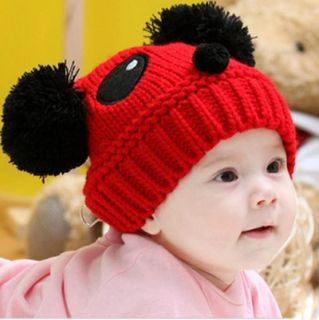 1pc Red Panda Handmade Knit Crochet Baby Beanie Hat Cap 21cmx17cm