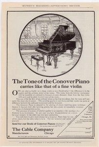 Conover Model Baby Grand Piano Vintage 1906 Antique Reprint