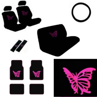 15pc Full Set SUV Seat Covers Girly Pink Butterfly Floor Mat Wheel