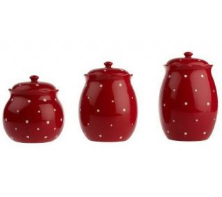 Temp tations Polka Dot 3 piece Fluted Canister Set —