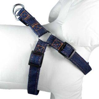 Jean Girth Dark Blue Nylon Comfort Dog Harness Collar Small Medium s M