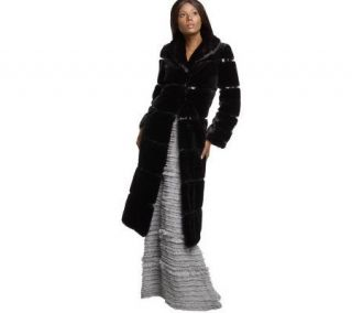 Luxe Rachel Zoe Full Length Faux Fur Coat with Patent Trim —