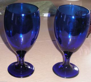 Beautiful Cobalt Blue Water Goblets Iced Tea Wine Glasses Stemware 2