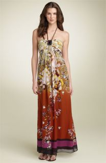 Adrianna Papell Silk Halter Maxi Dress