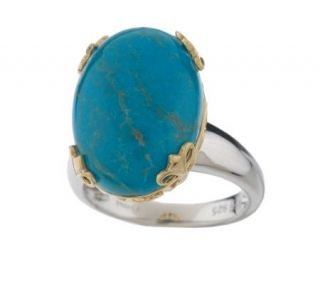 As IsSterling and Gold Tone Oval Turquoise Ring —