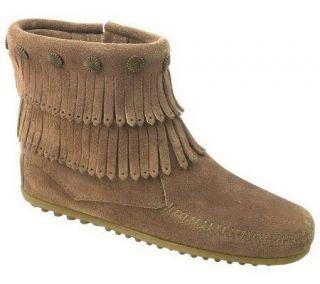 Minnetonka Womens Double Fringe Side Zip Boots —