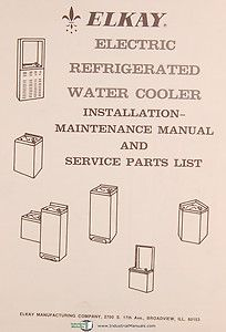 Water Cooler Service Instruction and Parts Manual Year 1973