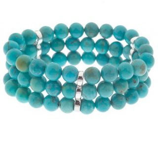 Sterling Three Row 8mm Turquoise Bead Stretch Bracelet —