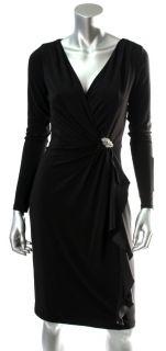 Lauren Ralph Lauren Womens Black Jersey Ruffle Draped Dress Sz 4 10