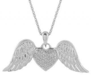 AffinityDiamond Sterling 1/7 ct tw Angel Wing 18 Necklace —