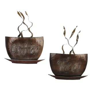 Metal Wall Art Coffee Tea Cups Set 2