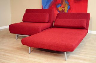 Steel frame fabric convertible sofa/bed. With coffee table and 360