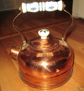 VNTG COPPER Tea Kettle Pot Lid Porcelain Handles White Cobalt Blue