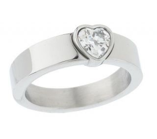Diamonique Stainless Steel Bezel Set Heart Shape Ring —