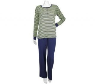 Sport Savvy Stretch Jersey Long Sleeve Striped Top and Pants Set