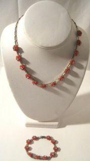 Vintage Early Coro Gold Coral Flower Rhinestone Bracelet Necklace Set