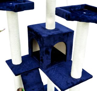 New 71 Cat Tree Condo Furniture Scratch Post Pet House Blue Free Toys