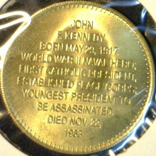 John F Kennedy JFK Mint Commemorative Bronze Medal Token Coin