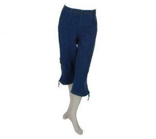 Denim & Co. Classic Waist Rain Wash Stretch Cargo Capri Pants