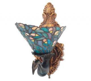 Tiffany Style Peacock Design LED Wall Sconce with Batteries —