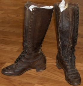 Tall Womens Leather Boots Lace Up Vintage 1900s Victorian Size 5 6